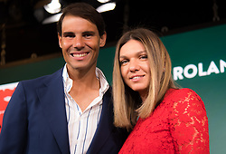 May 23, 2019 - Paris, FRANCE - Rafael Nadal of Spain & Simona Halep of Romania at the draw ceremony of the the 2019 Roland Garros Grand Slam tennis tournament (Credit Image: © AFP7 via ZUMA Wire)