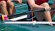 Aiguebelette, FRANCE. CAN M4-. Reach indicators fixed to the rigger, Friday Morning Time Trial at the  2014 FISA World Cup II,   Friday  20/06/2014. [Mandatory Credit; Peter Spurrier/Intersport-images]