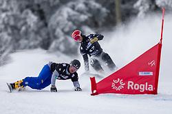 Zan Kosir (SLO), Edwin Coratti (ITA) during Final Run at Parallel Giant Slalom at FIS Snowboard World Cup Rogla 2019, on January 19, 2019 at Course Jasa, Rogla, Slovenia. Photo byJurij Vodusek / Sportida