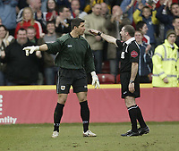 Photo: Aidan Ellis.<br /> Rotherham United v Bristol City. Coca Cola League 1. 25/03/2006.<br /> City's keeper Adriano Basso argues with the referee after Rotherham's second