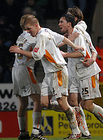 Photo: Ashley Pickering.<br /> Norwich City v Blackpool. The FA Cup. 13/02/2007.<br /> Shaun Barker (no. 25) of Blackpool celebrates scoring the equaliser in extra time with team mates