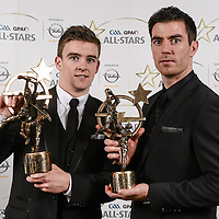 8 November 2013; Clare hurler Tony Kelly and Dublin footballer Michael Darragh Macauley with their Player of the Year awards, sponsored by Opel, at the 2013 GAA GPA All-Star awards in Croke Park, Dublin. Picture credit: Paul Mohan / SPORTSFILE *** NO REPRODUCTION FEE ***