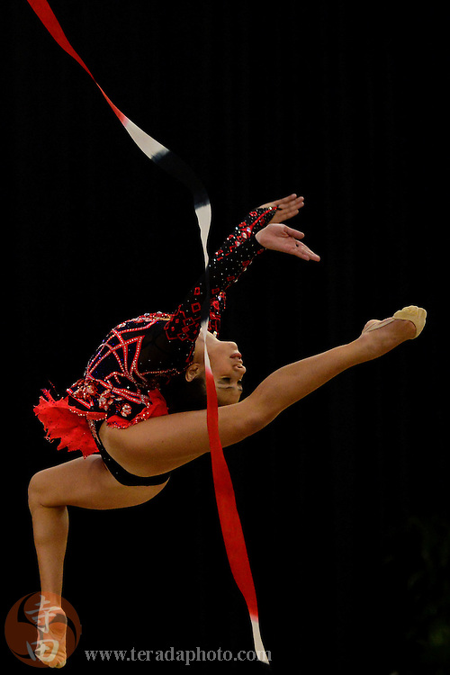 June 26, 2012; San Jose, CA, USA; Rebecca Sereda performs with the ribbon during the all-around prelims and event finals of the 2012 USA Gymnastics Championships for rhythmic gymnastics at San Jose Convention Center.
