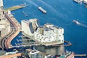 Nederland, Noord-Holland, Amsterdam, 11-12-2013; Westerdoksdijk met IJdok. Op het kunstmatige schiereiland IJDock bevindt zich het Paleis van justitie voor het Gerechtshof van Amsterdam. <br /> Articial island build for Palace of Justice - the Amsterdam Court of Justice.  Former harbour area, newly developed residential area.<br /> luchtfoto (toeslag op standaard tarieven);<br /> aerial photo (additional fee required);<br /> copyright foto/photo Siebe Swart.
