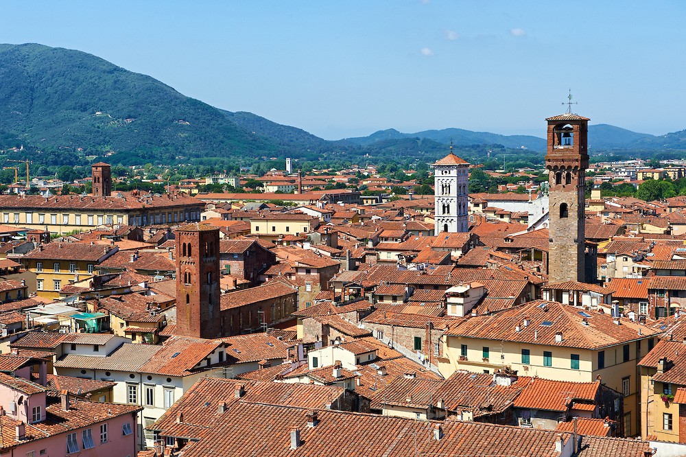 Panoramic roof top view from the Guinigi Tower of the historic centre of  Lucca, Tunscany, Italy .<br /> <br /> Visit our ITALY HISTORIC PLACES PHOTO COLLECTION for more   photos of Italy to download or buy as prints https://funkystock.photoshelter.com/gallery-collection/2b-Pictures-Images-of-Italy-Photos-of-Italian-Historic-Landmark-Sites/C0000qxA2zGFjd_k