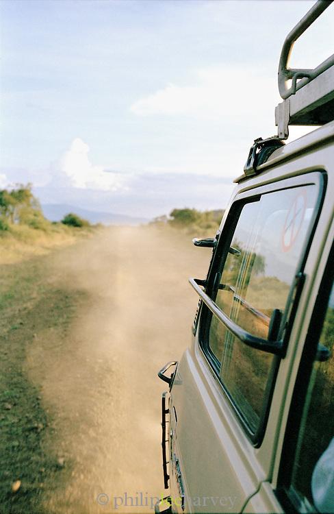 4x4 vehicle on valley road, Turmi, Lower Omo Valley, Ethiopia