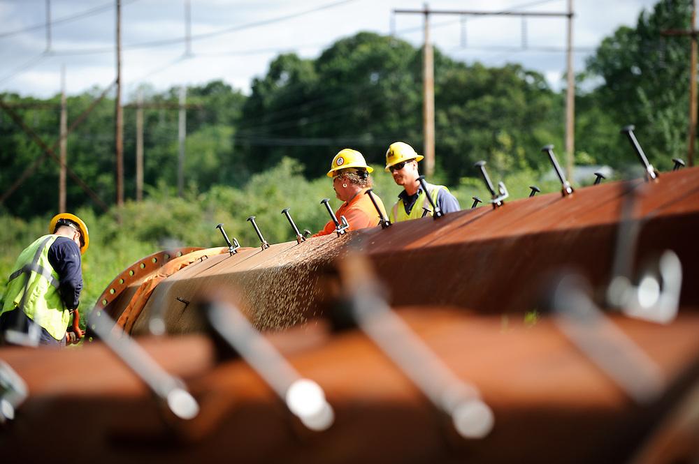 National Grid transmission line construction.