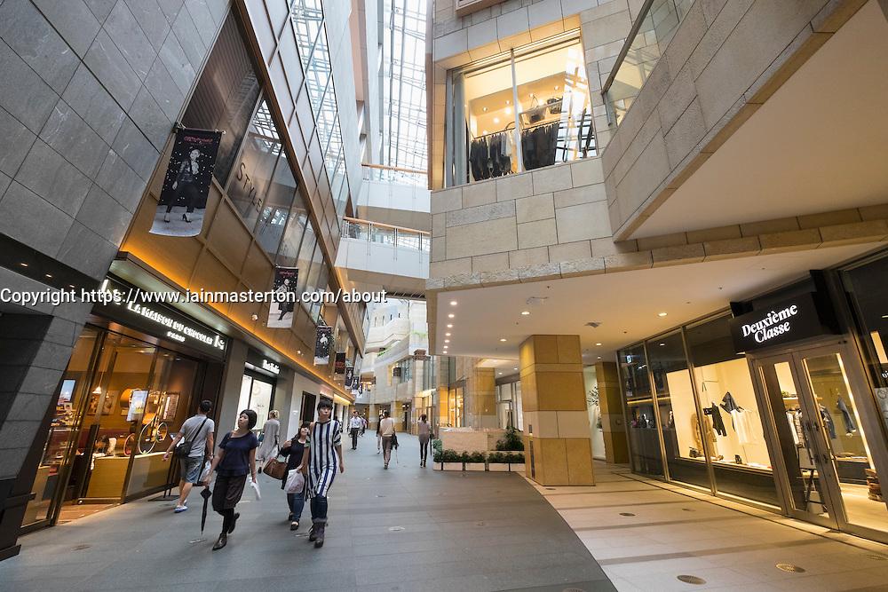 Interior of Roppongi Hills Mori Centre Shopping mall in Tokyo Japan