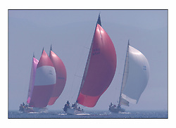 Racing at the Bell Lawrie Yachting Series in Tarbert Loch Fyne. Saturday racing started overcast but lifted throughout the day....Swan 45 GBR954R, Fever / Swantastic, with Crackin Rosie and the class one pack to windward and GBR49R Blue Magic .