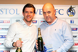 Bristol Rovers Manager Darrell Clarke with the winner of the second prize at the Sponsors Draw - Mandatory by-line: Robbie Stephenson/JMP - 15/04/2016 - FOOTBALL - The Memorial Ground - Bristol, England -  v  - Bristol Rovers Sponsor Draw