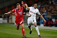 FOOTBALL - FRENCH CHAMPIONSHIP 2011/2012 - L1 - OLYMPIQUE MARSEILLE v AC AJACCIO  - 22/10/2011 - PHOTO PHILIPPE LAURENSON / DPPI - LOIC REMY (OM) / ARNAUD MAIRE (AJA)