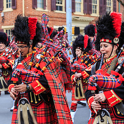 York, PA - March 12, 2016:  Bagpipers with The Kiltie Band of York play and march in the annual Saint Patrick's Day Parade.