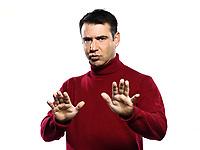 caucasian man  curb  gesture studio portrait on isolated white backgound