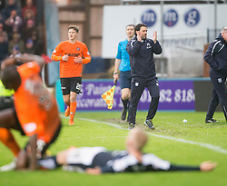 Dundee's manager Paul Hartley  after Dundee United's Guy Demel tackles Dundee's Nicky Low, then gets a red card. <br /> Dundee 2 v 1  Dundee United, SPFL Ladbrokes Premiership game played 2/1/2016 at Dens Park.