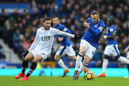 Wayne Rooney of Everton (r) turns away from Yohan Cabaye of Crystal Palace. Premier league match, Everton v Crystal Palace at Goodison Park in Liverpool, Merseyside on Saturday 10th February 2018. pic by Chris Stading, Andrew Orchard sports photography.