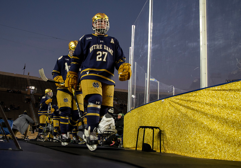 January 05, 2019:  Notre Dame defenseman Bobby Nardella (27) during NCAA Hockey game action between the Michigan Wolverines and the Notre Dame Fighting Irish at Notre Dame Stadium in South Bend, Indiana.  Michigan defeated Notre Dame 4-2.  John Mersits/CSM