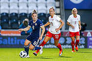 Kim Little (#8) of Scotland defends the ball from Lia Walti (#13) of Switzerland during the 2019 FIFA Women's World Cup UEFA Qualifier match between Scotland Women and Switzerland at the Simple Digital Arena, St Mirren, Scotland on 30 August 2018.