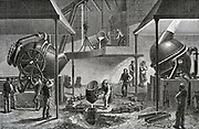 Bessemer process for mass-production of steel from pig iron converting in operation at steel works, Sheffield, England. Engraving 1888.