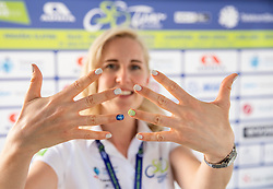 """Mateja Purnat posing with """"tour of Slovenia nails"""" during the 5th Stage of 27th Tour of Slovenia 2021 cycling race between Ljubljana and Novo mesto (175,3 km), on June 13, 2021 in Slovenia. Photo by Vid Ponikvar / Sportida"""