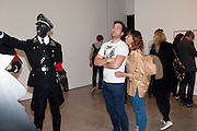 NICK LOCKYER; SELLISHA OLIVER, Jake or Dinos Chapman, White Cube, Mason's Yard and afterwards at The Tab Centre, Austin Street, London E2. 14 July 2011. <br /> <br />  , -DO NOT ARCHIVE-© Copyright Photograph by Dafydd Jones. 248 Clapham Rd. London SW9 0PZ. Tel 0207 820 0771. www.dafjones.com.