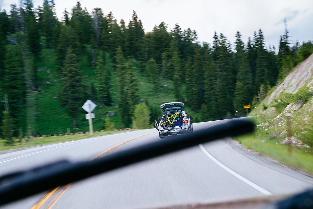 Jeff Brines drving a shuttle up Teton Pass.