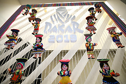 LIMA, Jan. 6, 2019 --.    The emblem of Dakar Rally is seen on a window of the accreditation building.    before the 2019 Dakar Rally Race, Lima, Peru, on Jan. 5, 2019. The 41st edition of Dakar Rally Race will take place in Peru from January 6 to 17, 2019 with a start and finish both in Lima. (Credit Image: © Xinhua via ZUMA Wire)