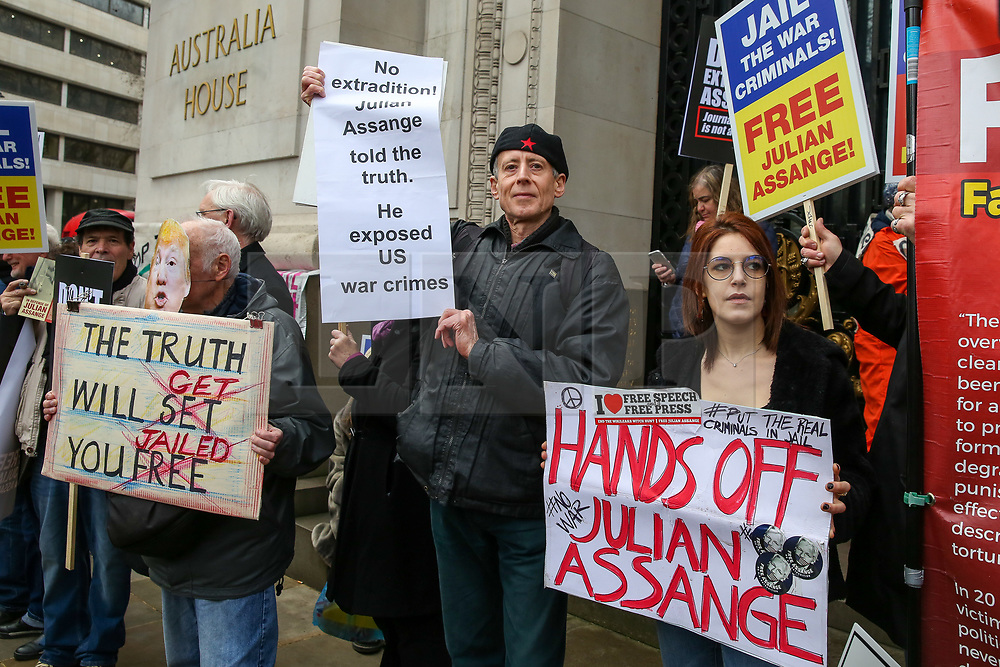 © Licensed to London News Pictures. 22/02/2020. London, UK. PETER TATCHELL(2nd from left) ,gay rights activists joins with the campaigners for Wikileaks founder JULIAN ASSANGE during a rally outside Australia House, Strand, demanding that ASSANGE should not be extradited to the USA. JULIAN ASSANGE faces 18 charges in the United States including conspiring to hack government computers and violating an espionage law. His extradition trial begins at Woolwich Crown Court on Monday, 24 February 2020. Photo credit: Dinendra Haria/LNP