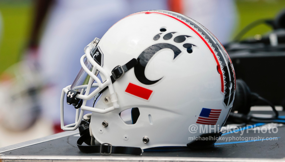 WEST LAFAYETTE, IN - SEPTEMBER 10: A Cincinnati Bearcats helmet is seen during the game against the Purdue Boilermakers at Ross-Ade Stadium on September 10, 2016 in West Lafayette, Indiana.  (Photo by Michael Hickey/Getty Images)