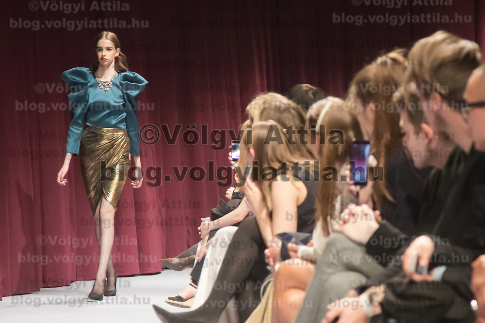 Model presents creation by brand Maison Marquise designed by Bori Toth during the Budapest Central European Fashion Week in Budapest, Hungary on April 27, 2018. ATTILA VOLGYI