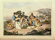 Group of Cochinchinese at play From the book A voyage to Cochinchina, in the years 1792 and 1793. To which is annexed an account of a journey made in the years 1801 and 1802, to the residence of the chief of the Booshuana nation by Sir John Barrow, 1764-1848 Published in London in 1806 by T. Cadell and W. Davies