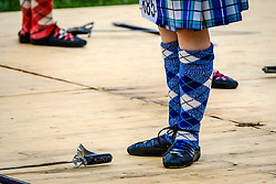 Peebles, Scotland UK  3rd September 2016. Peebles Highland Games, the biggest 'highland' games in the Scottish  Borders took place in Peebles on September 3rd 2016 featuring pipe band contests, highland dancing competitions, haggis hurling, hammer throwing, stone throwing and other traditional events.<br /> <br /> Pictured:  Highland dancing competition in progress<br /> <br /> (c) Andrew Wilson | Edinburgh Elite media