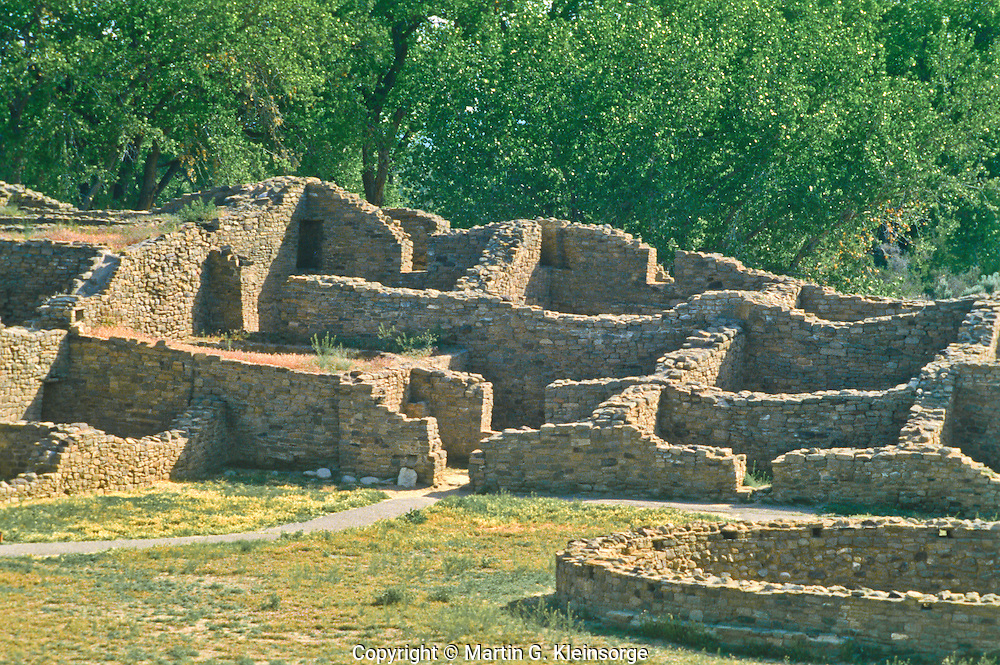 Courtyard at the Aztec Ruins, built by the Anasazi people.  Aztec Ruins Natinal Monument, New Mexico.  USA