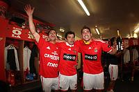 20100509: LISBON, PORTUGAL - SL Benfica vs Rio Ave: Portuguese League 2009/2010, 30th round. Players celebrations in the locker room. In picture: Maxi Pereira, Javier Saviola and Javi Garcia. PHOTO: CITYFILES