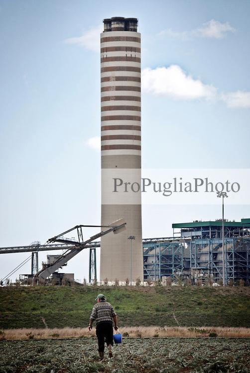 """Un agricoltore in un coltivazione di carciofi nei pressi della centrale a carbone """"Federico II"""" a Cerano (BR). 21/09/2008 (PH Gabriele Spedicato)"""