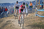 SHOT 1/12/14 4:16:03 PM - Ken Benesh (#113) of Westminster, Co. and Walton Brush (#101) of Portland, Ore. compete at the 2014 USA Cycling Cyclo-Cross National Championships at Valmont Bike Park in Boulder, Co. (Photo by Marc Piscotty / © 2014)