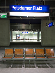 Seating on platform at Potsdamer Platz railway station Berlin 2009