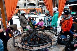 California: Outdoor firepits at skating rink at Northstar at Lake Tahoe.    Photo copyright Lee Foster.  Photo # cataho100583