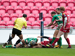 Benetton Rugby's Angelo Esposito scores his sides third try<br /> <br /> Photographer Simon King/Replay Images<br /> <br /> EPCR Champions Cup Round 3 - Scarlets v Benetton Rugby - Saturday 9th December 2017 - Parc y Scarlets - Llanelli<br /> <br /> World Copyright © 2017 Replay Images. All rights reserved. info@replayimages.co.uk - www.replayimages.co.uk