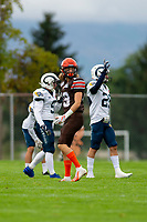 KELOWNA, BC - SEPTEMBER 8: Cole Stregger #19 of Okanagan Sun stands on the field against the Langley Rams at the Apple Bowl on September 8, 2019 in Kelowna, Canada. (Photo by Marissa Baecker/Shoot the Breeze)