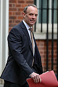 Foreign Secretary Dominic Raab arriving at 10 Downing Street, in London on Tuesday, Feb. 25, 2020. (Photo/Vudi Xhymshiti)