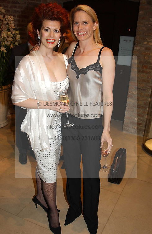 Left to right, CLEO ROCCOS and ANNA WALKER at a party to celebrate the publication of 'Last Voyage of The Valentina' by Santa Montefiore at Asprey, 169 New Bond Street, London W1 on 12th April 2005.<br /><br />NON EXCLUSIVE - WORLD RIGHTS