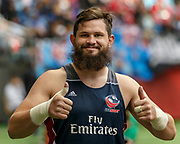 VANCOUVER, BC - MARCH 11:  Danny Barrett (#3) of USA spirits up before Game # 40- United States vs Kenya Cup SF 2 match at the Canada Sevens held March 10-11, 2018 in BC Place Stadium in Vancouver, BC. (Photo by Allan Hamilton/Icon Sportswire)