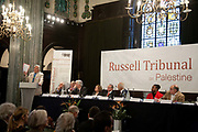 "London session of the Russel Tribunal on Palestine. "" Corporate Complicity in Israel's violations in international human rights law and international humanitarian law"". On the jury are Gianni Tognoni, Pr. Pierre Galand, Lord Anthony Gifford QC, Mairead Corrigan, John Dugard, Ambassador of France Stephane Hessel, Ronald Kasrils, Michael Mansfield QC, Cynthia McKinney. <br /> Michael Mansfield QC speaking."