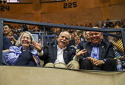 Feb 10, 2018; Morgantown, WV, USA; United States Congressman David McKinley, R-West Virginia, smiles for a photo during the second half against the Oklahoma State Cowboys at WVU Coliseum. Mandatory Credit: Ben Queen-USA TODAY Sports