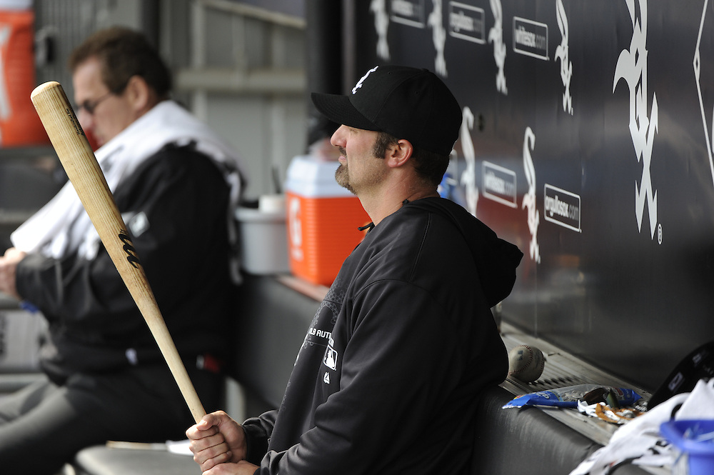 CHICAGO - APRIL 06:  Paul Konerko #14 of the Chicago White Sox looks on from the dugout during the game against the Seattle Mariners  on April 06, 2013 at U.S. Cellular Field in Chicago, Illinois.  The White Sox defeated the Mariners 4-3.  (Photo by Ron Vesely)   Subject:  Paul Konerko