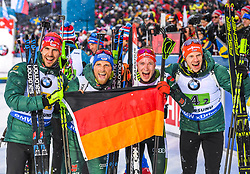 March 16, 2019 - –Stersund, Sweden - 190316 Erik Lesser, Roman Rees, Arnd Peiffer and Benedikt Doll of Germany celebrate after the Men's 4x7,5 km Relay during the IBU World Championships Biathlon on March 16, 2019 in Östersund..Photo: Petter Arvidson / BILDBYRÃ…N / kod PA / 92269 (Credit Image: © Petter Arvidson/Bildbyran via ZUMA Press)
