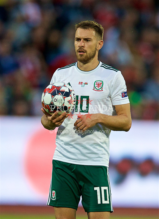 AARHUS, DENMARK - Sunday, September 9, 2018: Wales' Aaron Ramsey during the UEFA Nations League Group Stage League B Group 4 match between Denmark and Wales at the Aarhus Stadion. (Pic by David Rawcliffe/Propaganda)