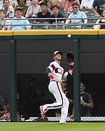 CHICAGO - JUNE 30:  Ryan Cordell #49 of the Chicago White Sox fields against the Minnesota Twins on June 30, 2019 at Guaranteed Rate Field in Chicago, Illinois.  (Photo by Ron Vesely)  Subject:  Ryan Cordell