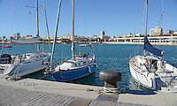 Yachts moored at new marina, Malaga, Andalusia, Spain, December, 2013, 201312203036<br />