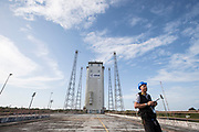 Mcc0084404 . Daily Telegraph<br /> <br /> Aeolus Satellite Launch<br /> <br /> The Vega rocket fuelled and ready to launch with it's Aeolus Satellite payload at the European Space Centre in French Guiana  . <br /> The Aeolus Satellite, designed and built by Airbus contains pioneering technology that will monitor winds around the globe that will change weather forecasting forever .<br /> <br /> Kourou, French Guiana 21 August 2018
